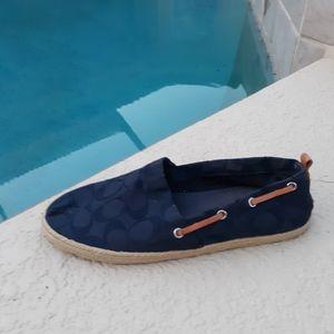 COACH Navy Flats Espadrilles Boating Loafer Shoe